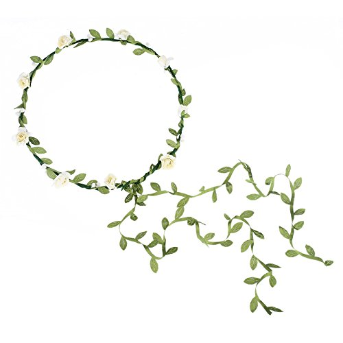 Cfrmall 2Pcs Fashion for Bohemian Style Wedding Bride Bridal Headdress Floral Flower Garland Headwear Headbands (Cream White)