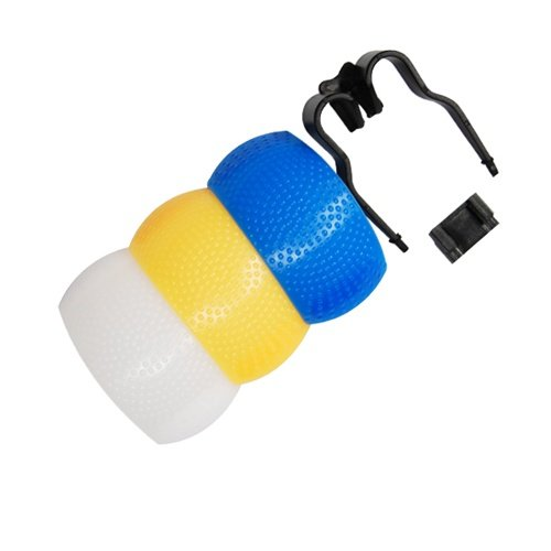 CowboyStudio Soft Pop-Up SLR Flash Diffuser for Canon EOS, Nikon, Olympus and Pentax On-Camera Flashes with White, Blue (Cooling), & Yellow (Warming) Screens