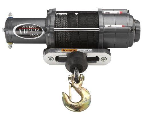 Viper Max 5000Lb Utv Wide Spool Winch & Custom Mount Polaris Ranger With Black Amsteel®-Blue Synthetic Rope