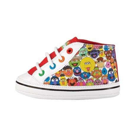 Sesame Street White Infant Hi-Top Crib Shoes (2 M Us Infant) front-12140