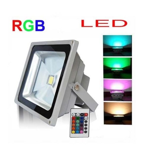 Led Floodlight 20W Rgb Color Waterproof Outdoor Ac85-265V Spotlight High Powered Ip65 Energy Efficient Long Life Interiors/Exteriors 50,000 Hours