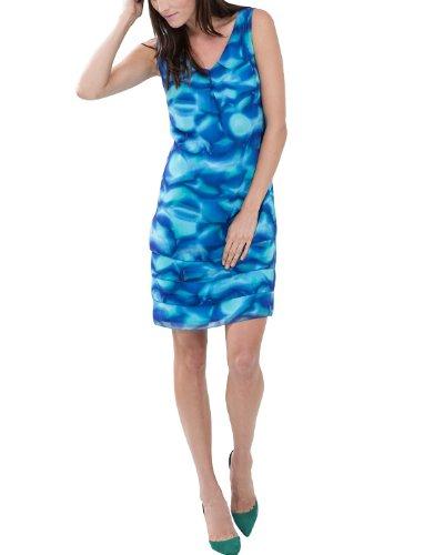 Comma Damen Kleid, Mini, Gr. 34 (Herstellergröße: 34), Mehrfarbig (blue AOP)