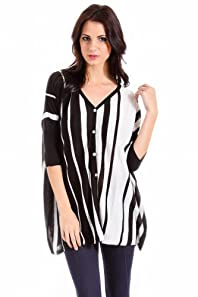 Cecieco Collection Dolman Sleeved Striped Cardigan in Black and Ivory