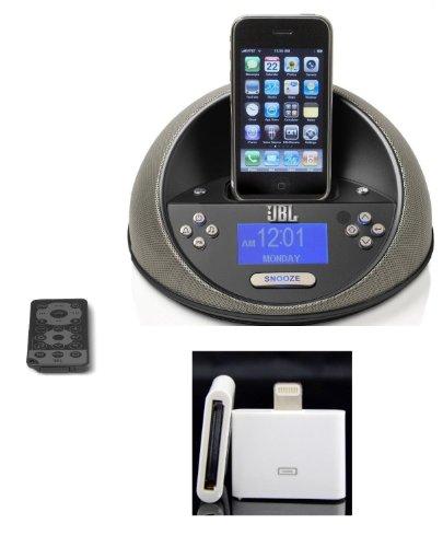 Jbl On Time Micro Speaker Dock System For Ipod/Iphone + Free Iphone 5 5S Adapter W/Alarm Clock (Black)