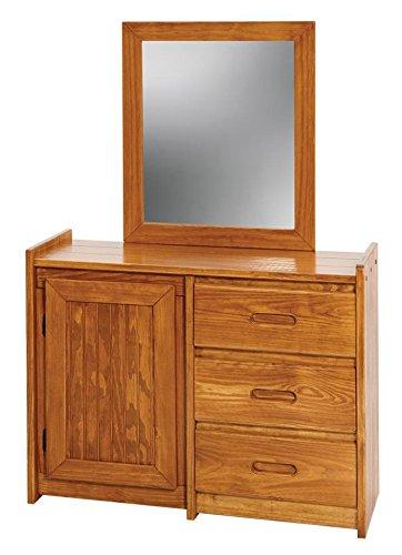 3 Drawer Dresser With Mirror Finish: Honey