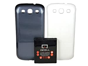 QCell Samsung Galaxy SIII X-Life 4200mAh Extended Battery + Blue & White Back Cover (Compatible with Samsung Galaxy S3 GT-I9300, Sprint L710, Verizon I535, T-mobile T999, AT&T Samsung I747, U.S. Cellular R530) ***NFC Support for S Beam and Google Wallet***