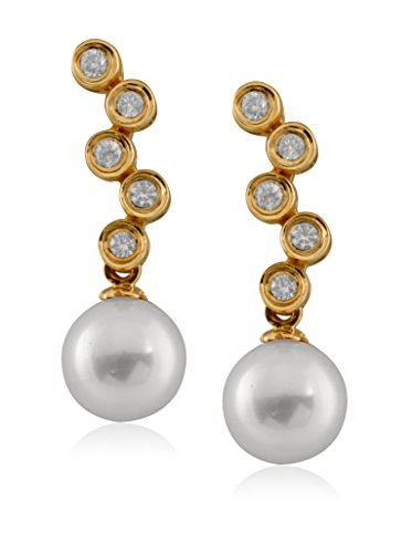 Splendid Diamond & 7-7.5mm White Akoya Pearl Drop Earrings