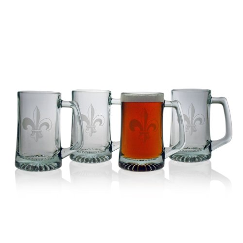 Susquehanna Glass Fleur De Lis 15-Ounce Sport Mug, Set Of 4