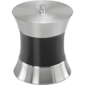 Kraftware Hourglass Polished Stainless Steel 3 Quart Ice Bucket With Brushed Mid-Band