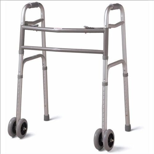 Medline Bariatric Folding Walker with Wheels, 5 Inch