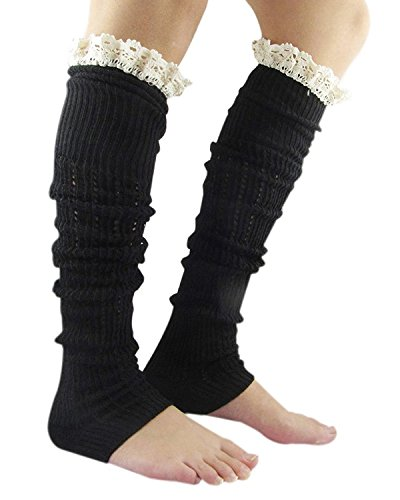 Passionate Adventure Comfort Warm Colorful Womens Crochet Leg Warmers B Black