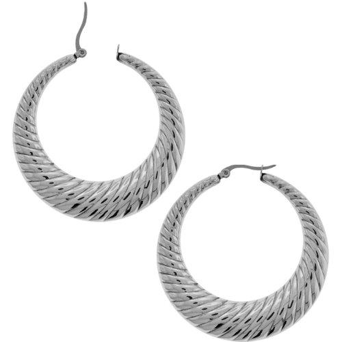 Inox Jewelry 316L Stainless Steel 40mm Twirl Hoop Earrings