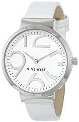 Nine West Women's NW/1397WTWT Silver-Tone Smooth White Strap Watch