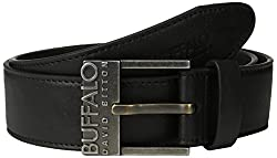 Buffalo Men's Casual Jean Belt with Logo Buckle, Black, X-Large