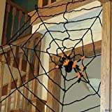 Spider and Giant 10 Foot Rope Spiderweb - Halloween Decorations - 2 Pc Set includes a giant web and 1 assorted style spider