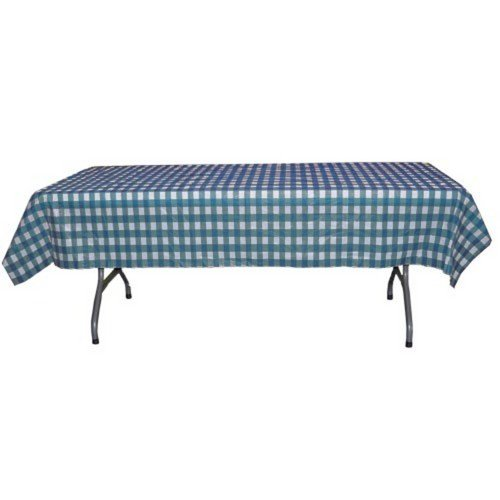 Blue Gingham Plastic Table Cover (Rectangular - 54in. W x 108in. L)