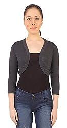 Threadz Women's Shrug (T-W-1058-AntraMelange-4XL, Grey, 4XL)