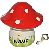 Sparschwein Pilz incl. Name - Porzellan / Keramik mit Schlüssel - Pilze Sparen - stabile Sparbüchse Spardose Kinder Figur groß Glückspilz