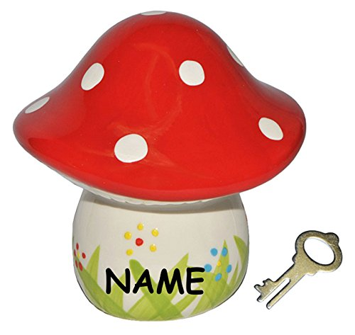 Sparschwein Pilz incl. Namen - Porzellan / Keramik mit Schlüssel - stabile Sparbüchse Spardose Kinder Figur groß Glückspilz - Pilze Sparen