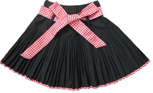 Image of Sunny Fashion Girls Skirt Black Pleated Red Tie Children Clothes Size 4-9