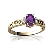 buy 14Kt Yellow Gold Amethyst And Diamond 6X4Mm Oval Filligree Scroll Ring - Size 7