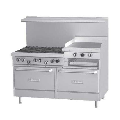 "Garland G60-6R24Rr Gas Range Restaurant Series 60""W, 6 Burners, 2 Standard Ovens, 24"" Raised Grid"
