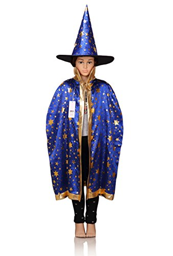 [ProEtrade Child Costume Cosplay Cape With Witch Hat For Halloween Christmas (Blue)] (Cosplay Costumes For Boys Kids)