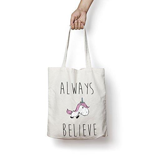 Always Believe In Licornes Sac fourre-tout shopper sac Coton 5P pour vie verre à vin blanc décor New, Tissu, naturel, 38 x 42cm
