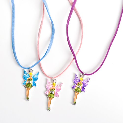12 Girls Necklaces with Fairy Pink Purple and Blue Tinkerbell Wholesale Party Favor Costume Jewelry