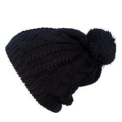 WishCart Knit Cap for Girls and Womens Knit Beanie Crochet Rib Pom Pom Hat (Black)