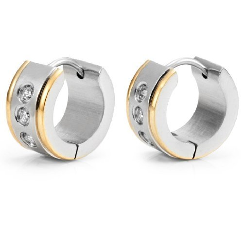 R&B Jewelry Eye Catching Mens Hoop Huggie Cz Earrings (Gold Silver)