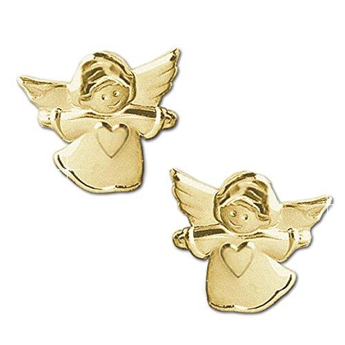 CLEVER-SCHMUCK-Goldene-Ohrstecker-kleiner-Kinderengel-7-mm-seidenmatt-mit-Herz-333-GOLD-8-KARAT-fr-Kinder