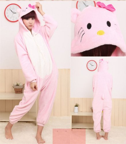 Winter Pink Kt Cat Pajamas Cosplay Costume Footed Sleepwear For Women Men Size L