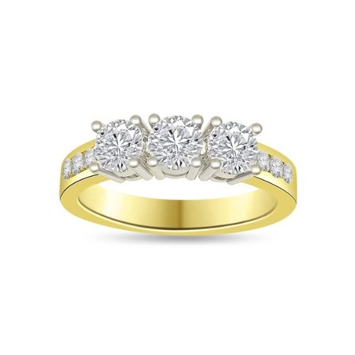 0.60 carat 3 Diamond Trilogy Promise Ring for Women. G/VS1 Round Brilliant Diamond in 18ct Yellow & White Gold