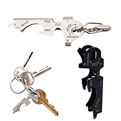 prestigetiger(TM) 8 in 1 EDC stainless steel multi-function tool keychain Outdoor survival gear from prestigetiger store