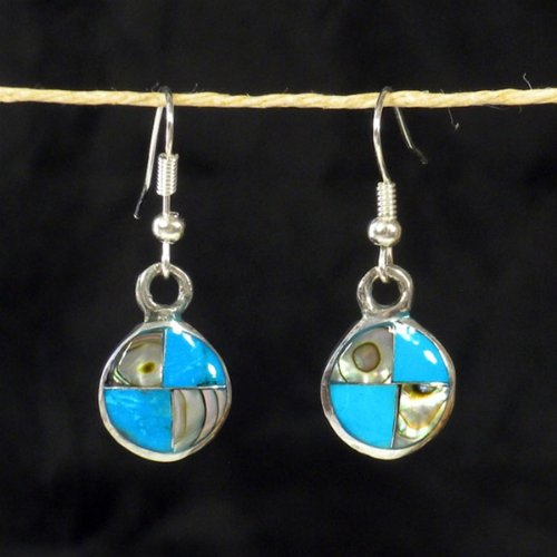 Turquoise and Abalone Round Silver Earrings