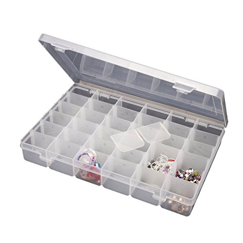 Comparamus adjustable 36 compartment slot plastic craft for Craft storage boxes with compartments