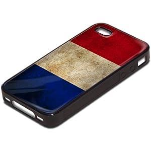 Drapeaux France 2, Carte du Monde, Antichoc Tough Silikone Rigide Coque Etui Case Housse Noir avec l'Image Coloré pour Apple iPhone 4 4S.