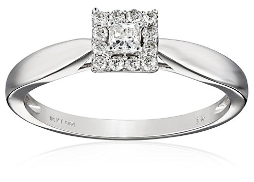 For sale Women's 14k White Gold Princess Diamond with Halo Engagement Ring (1/4 cttw I-J Color, I1-I2 Clarity), Size 8