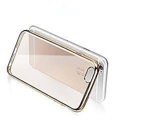 Trendz Gold Electroplated Edge Clear Soft Transparent Back Cover for Apple Iphone 6 Plus Transparent Back Case Gold - Golden