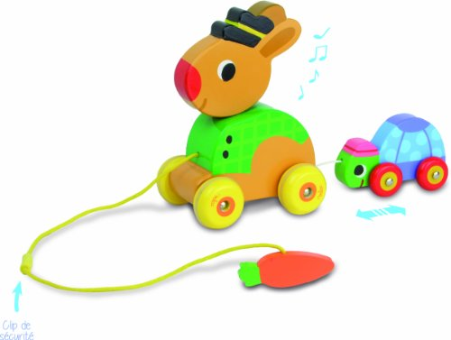 Vilac The Tortoise and the Hare Pull Along Musical Toy - 1