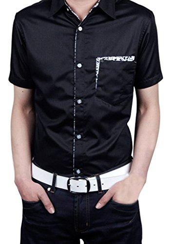 Non-Ferro Gillbro Uomo Slim Fit-Button-Front Solid camicia, nero, 8XL