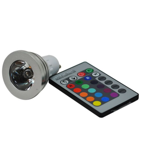 5 X GU10 3W RGB LED 16 COLOUR CHANGING BULBS WITH 3 WIRELESS CONTROLLERS ** IDEAL FOR HOMES, BARS, RESTAURANTS, ETC **
