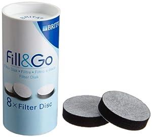 Brita Fill and Go Ersatz Filter Discs für Wasserfilterflasche,Pack 8