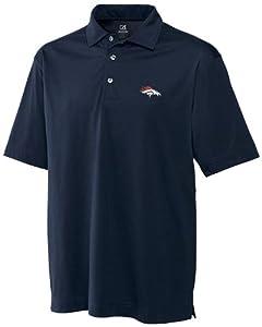 NFL Denver Broncos Mens CB DryTec Medina Tonal Stripe Polo, Navy Blue by Cutter & Buck
