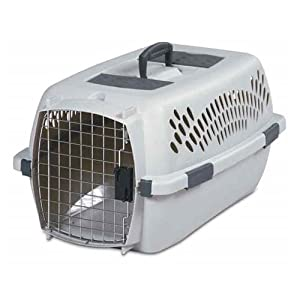 """Petmate PTM2108 Pet Taxi Traditional Portable Dog Kennel in Gray Size: Medium (11.84"""" x 15.2"""" x 23"""")"""