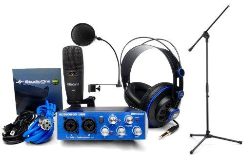 Presonus Audiobox Studio Recording Interface W/Headphones, M7 Mic, Software, Pop Filter, And Mic Stand