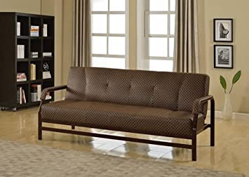 Furniture2go UFE-1308 Madeline Sofa Futon - Light Brown/Dark Brown - Synthetic PU leather