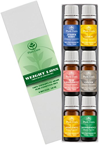 ?Weight loss set? Essential Oil Variety set - 6 Pack - 100% Pure Therapeutic Grade 10ml. Set includes- (Peppermint, Grapefruit, Juniper Berry, Lemon, Ginger, Bergamot)