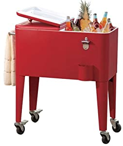 Sunjoy Industries L-BC153PST Beverage Cooler Cart, With Wheels, Red Steel, 60-Qts. from Sunjoy Industries